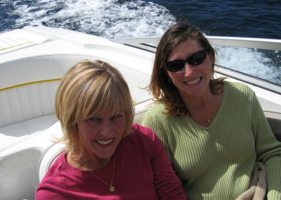 Jan Brown and Christy Belisle boating Priest Lake